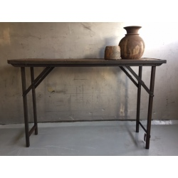 Folding table natural old wood/iron frame 120x40H80cm