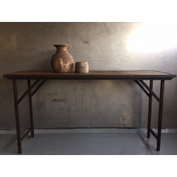 Folding table natural old wood/iron frame 150x45H80cm