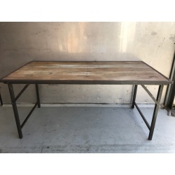 Folding table natural old wood,iron frame 180x90H83cm (5123)