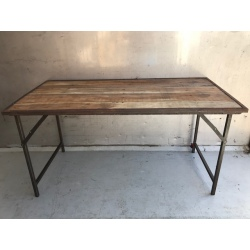 Folding table natural old wood,iron frame 160x80H80cm (5124)