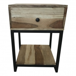 Bedside wood/ iron 45x40H66cm