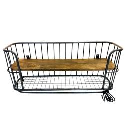 Wallshelve iron/wood 65x37x17cm black