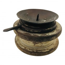 Old wooden coil candlestand D10H7cm