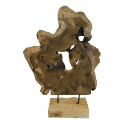 Abstract on stand teak +/- 45x H60cm