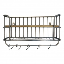 Wallshelve iron/wood 65x37x17cm