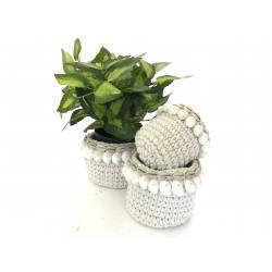 Macrameè basket set/3 with shell(3228)