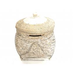 Fat basket bamboo w. lid(3380)