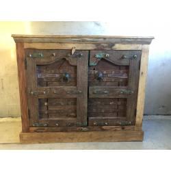 Cabinet old doors 115x50H100cm blue div. uitvoeringen