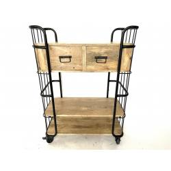 Trolley with 2 drawers steel 84x40H110cm